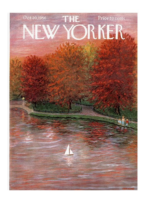 Season Greeting Card featuring the painting New Yorker October 20th, 1956 by Edna Eicke