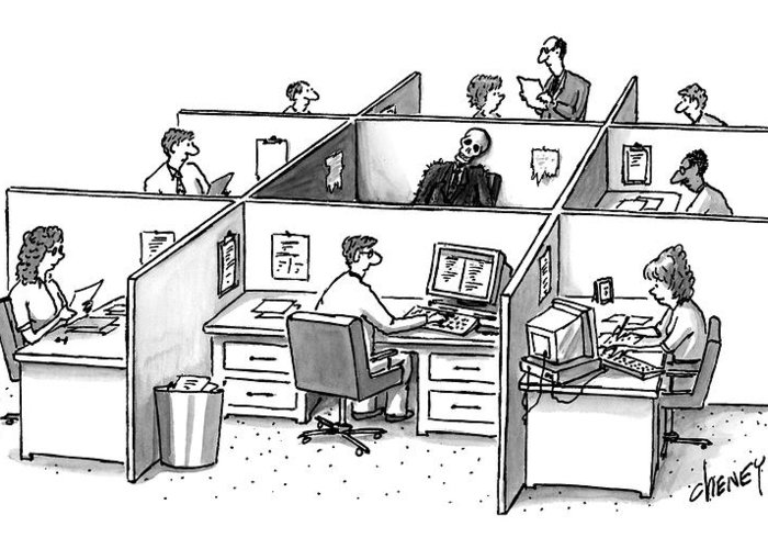 Office Cubicle Greeting Cards