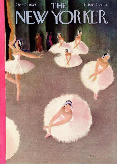 Ballet Ballerina Dance Music Piroet Company Performance Stage Theater Susanne Suba Sub Susanne Suba Sub Artkey 48661 Greeting Card featuring the painting New Yorker October 21st, 1939 by Susanne Suba