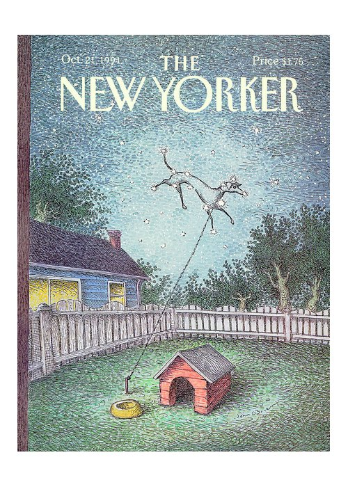 A Dog Constellation On A Leash Runs Around In The Twilight Sky Rather Than The Backyard Where It's House And Food Bowl Are. Greeting Card featuring the painting New Yorker October 21st, 1991 by John O'Brien