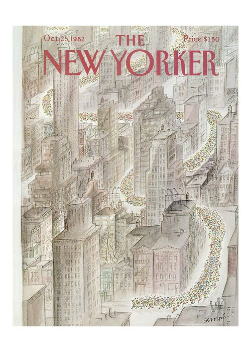Marathon Greeting Card featuring the painting New Yorker October 25th, 1982 by Jean-Jacques Sempe