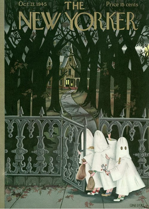 Halloween Trick Or Treat Kids Children Little Holiday Ghost Ghosts Candy Haunted House Scared Afraid Edna Eicke Eed Bodinok Artkey 48939 Greeting Card featuring the painting New Yorker October 27th, 1945 by Edna Eicke