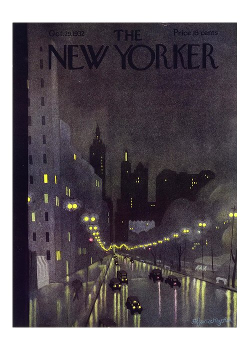 Illustration Greeting Card featuring the painting New Yorker October 29 1932 by Arthur K. Kronengold