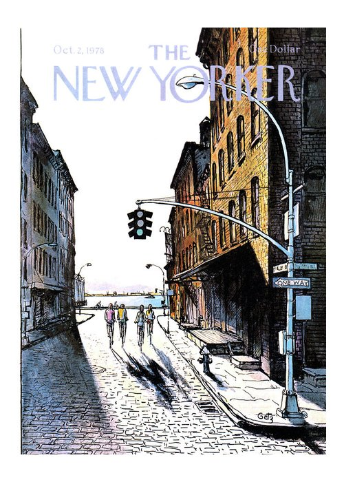 People Greeting Card featuring the painting New Yorker October 2nd, 1978 by Arthur Getz