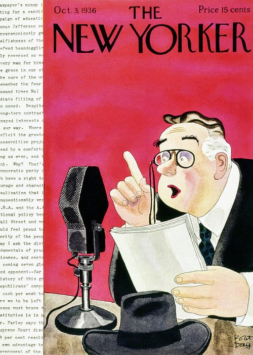 Political Greeting Card featuring the painting New Yorker October 3 1936 by Robert Day