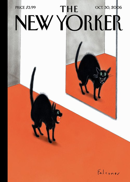 Halloween Greeting Card featuring the painting New Yorker October 30th 2006 by Ian Falconer