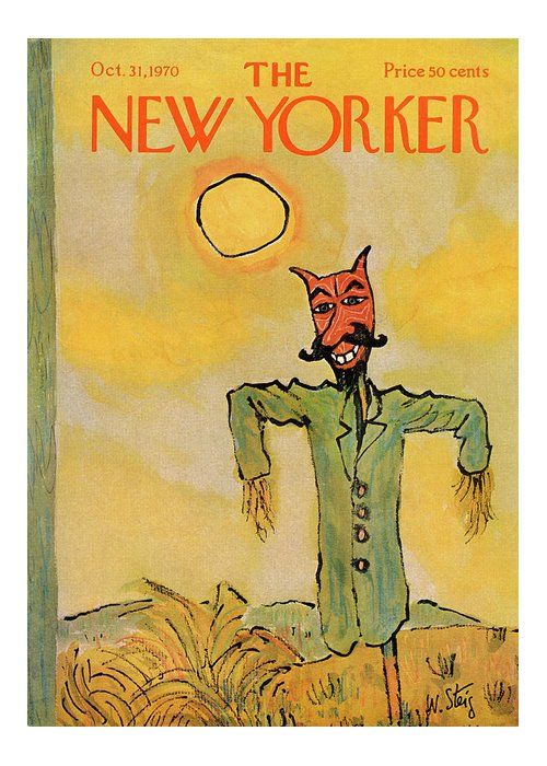 William Steig Wst Greeting Card featuring the painting New Yorker October 31st, 1970 by William Steig