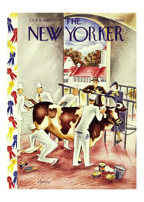 Illustration Greeting Card featuring the painting New Yorker October 5 1935 by Constantin Alajalov