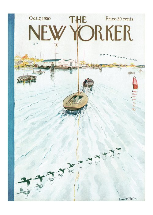 Boat Greeting Card featuring the painting New Yorker October 7th, 1950 by Garrett Price
