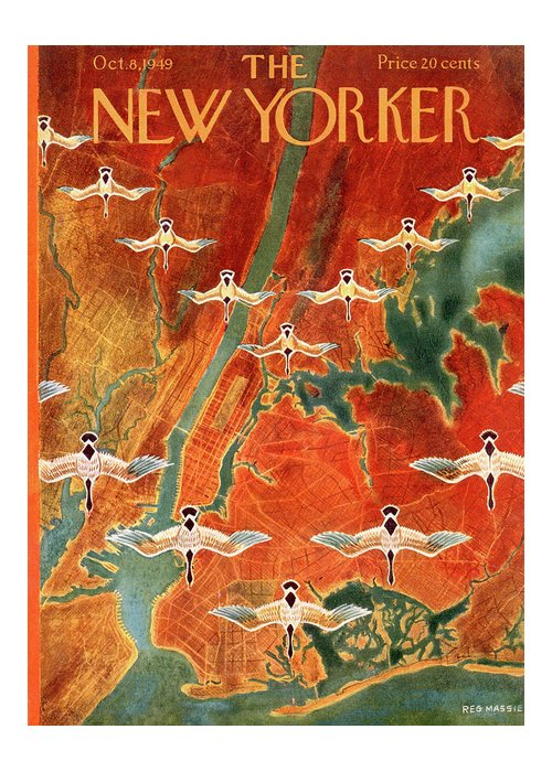 Urban Greeting Card featuring the painting New Yorker October 8th, 1949 by Reginald Massie