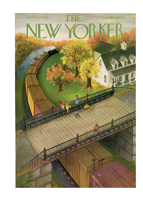 Edna Eicke Eed Greeting Card featuring the painting New Yorker October 9th, 1948 by Edna Eicke