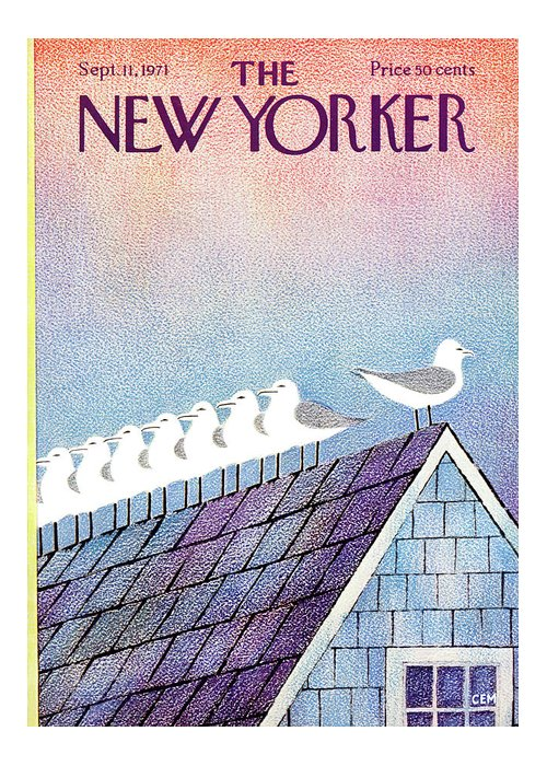 Animals Greeting Card featuring the painting New Yorker September 11th, 1971 by Charles E Martin