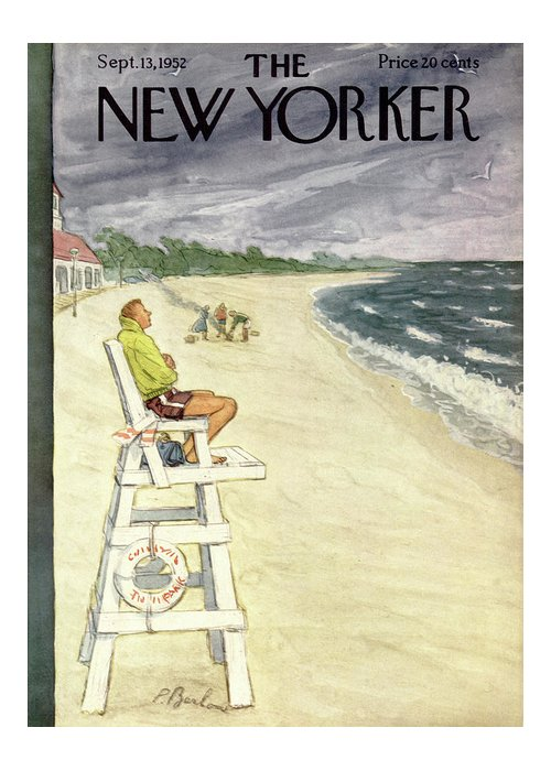 Leisure Greeting Card featuring the painting New Yorker September 13th, 1952 by Perry Barlow
