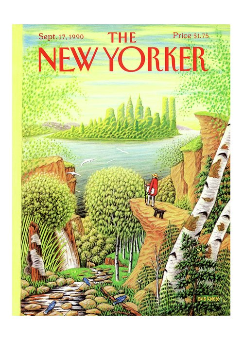 Animal Greeting Card featuring the painting New Yorker September 17, 1990 by Bob Knox