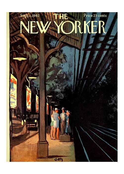 Wait Greeting Card featuring the painting New Yorker September 1st, 1962 by Arthur Getz