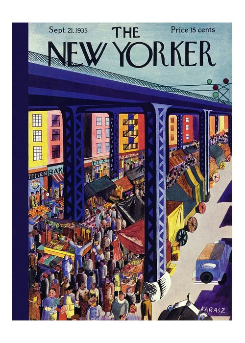 Travel Greeting Card featuring the painting New Yorker September 21 1935 by Ilonka Karasz