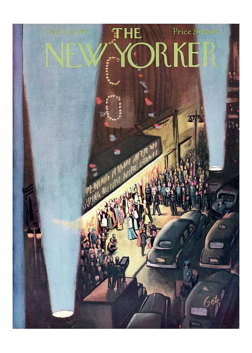 Urban Greeting Card featuring the painting New Yorker September 26th, 1953 by Arthur Getz
