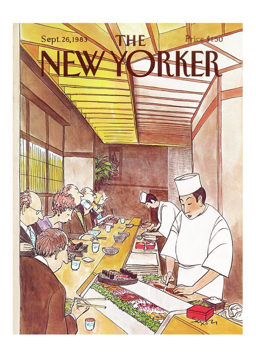 (japanese Chefs Prepare Dinners At Sushi Bar For Seated Customers.) Dining High Class Foreign Japan Sashimi Restaurants Charles Saxon Csa Artkey 46217 Greeting Card featuring the painting New Yorker September 26th, 1983 by Charles Saxon