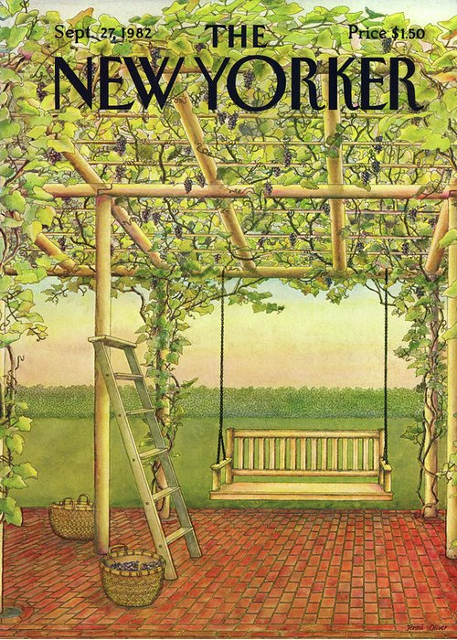 Leisure Greeting Card featuring the painting New Yorker September 27th, 1982 by Jenni Oliver