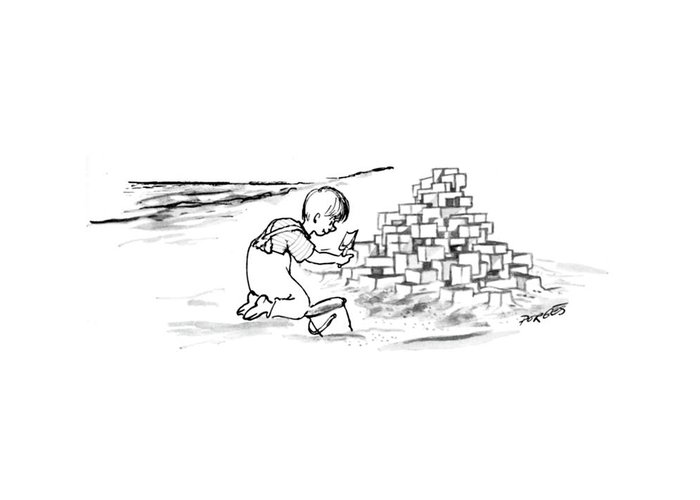 New yorker september 2nd 1967 greeting card for sale by peter porges 84062 ppo peter porges child on beach is building habitat 67 out of sand m4hsunfo