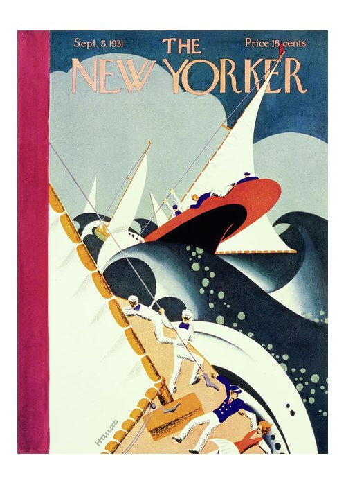 Illustration Greeting Card featuring the painting New Yorker September 5 1931 by Theodore G Haupt