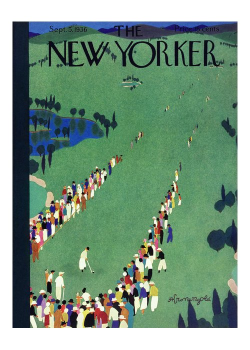 Sport Greeting Card featuring the painting New Yorker September 5 1936 by Arthur K Kronengold