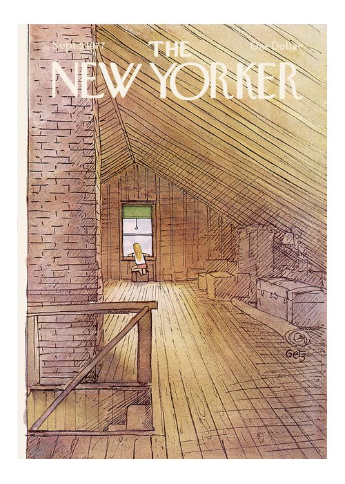 Attic Greeting Card featuring the painting New Yorker September 5th, 1977 by Arthur Getz