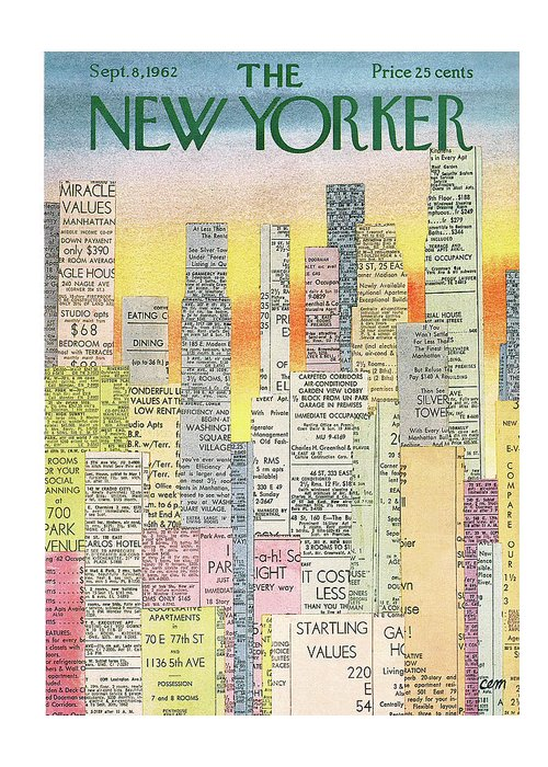 Real Estate Greeting Card featuring the painting New Yorker September 8th, 1962 by Charles E Martin