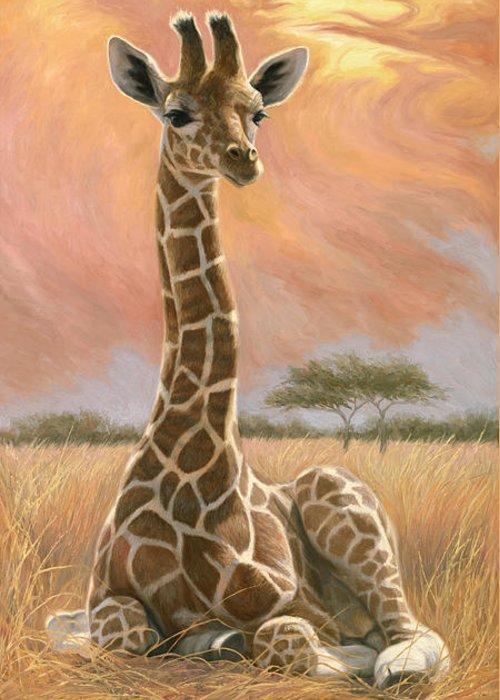Giraffe Greeting Card featuring the painting Newborn Giraffe by Lucie Bilodeau