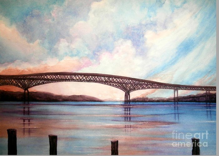 Newburgh - Beacon Bridge Greeting Card featuring the painting Newburgh Beacon Bridge Sky by Janine Riley