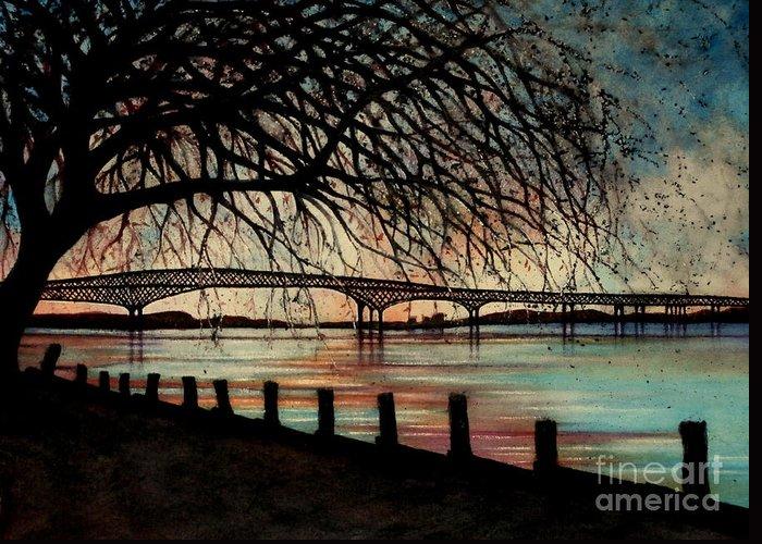 Newburgh Beacon Bridge Greeting Card featuring the painting Newburgh Beacon Bridge Sunset by Janine Riley