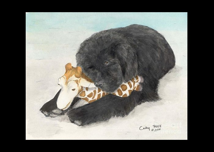 Newfoundland Greeting Card featuring the painting Newfoundland Dog In Snow Stuffed Animal Cathy Peek Art by Cathy Peek