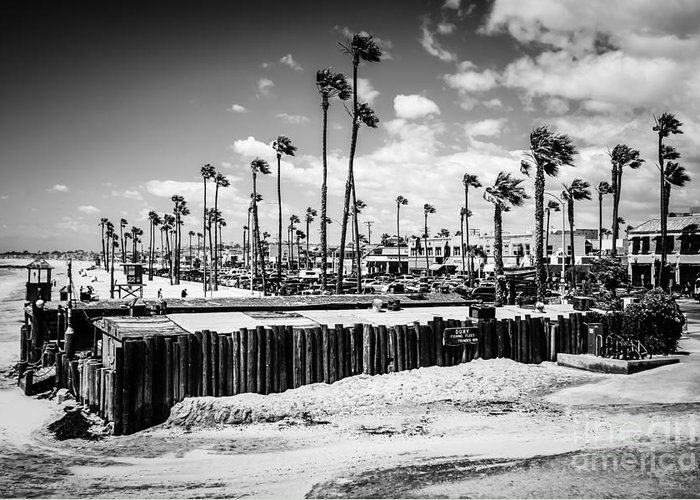 21st Street Greeting Card featuring the photograph Newport Beach Dory Fishing Fleet Black And White Picture by Paul Velgos