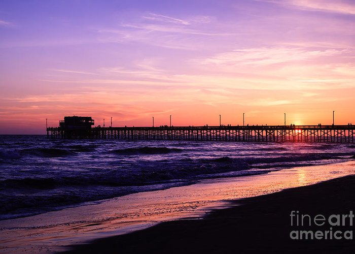 America Greeting Card featuring the photograph Newport Beach Pier Sunset In Orange County California by Paul Velgos