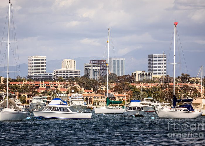 America Greeting Card featuring the photograph Newport Beach Skyline by Paul Velgos
