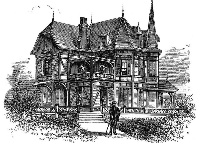 1875 Greeting Card featuring the painting Newport Cottage by Granger