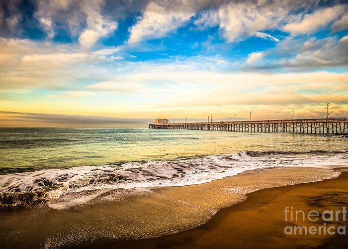 America Greeting Card featuring the photograph Newport Pier Photo In Newport Beach California by Paul Velgos