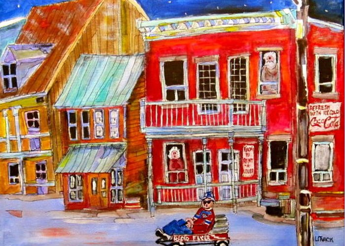 Radio Flyer Wagon Greeting Card featuring the painting Newspaper Delivery by Michael Litvack