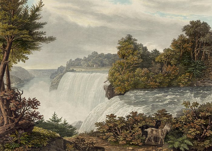 American Greeting Card featuring the painting Niagara Falls Circa 1829 by Aged Pixel