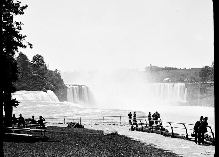 Antique Greeting Card featuring the photograph Niagara Falls Prospect Park 1904 Vintage Photograph by A Gurmankin