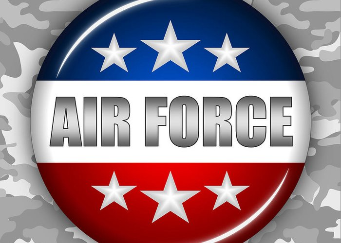 Air Force Greeting Card featuring the digital art Nice Air Force Shield 2 by Pamela Johnson