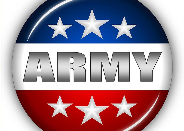 Army Greeting Card featuring the digital art Nice Army Shield by Pamela Johnson