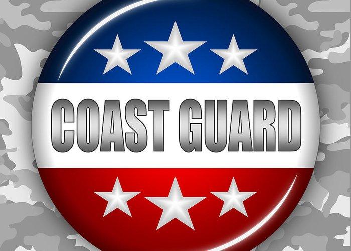 Coast Guard Greeting Card featuring the digital art Nice Coast Guard Shield 2 by Pamela Johnson