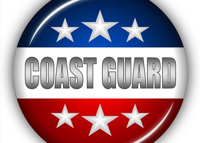 Coast Guard Greeting Card featuring the digital art Nice Coast Guard Shield by Pamela Johnson