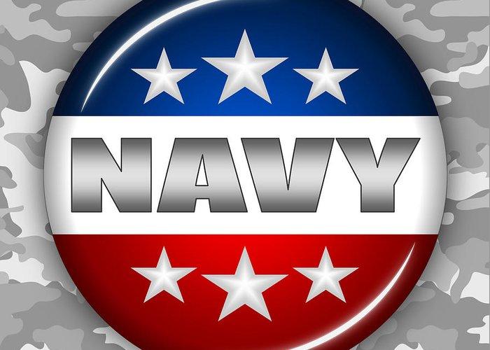 Navy Greeting Card featuring the digital art Nice Navy Shield 2 by Pamela Johnson