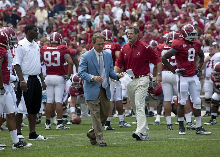Nick Saban Greeting Card featuring the photograph Nick Saban And The Tide by Mountain Dreams