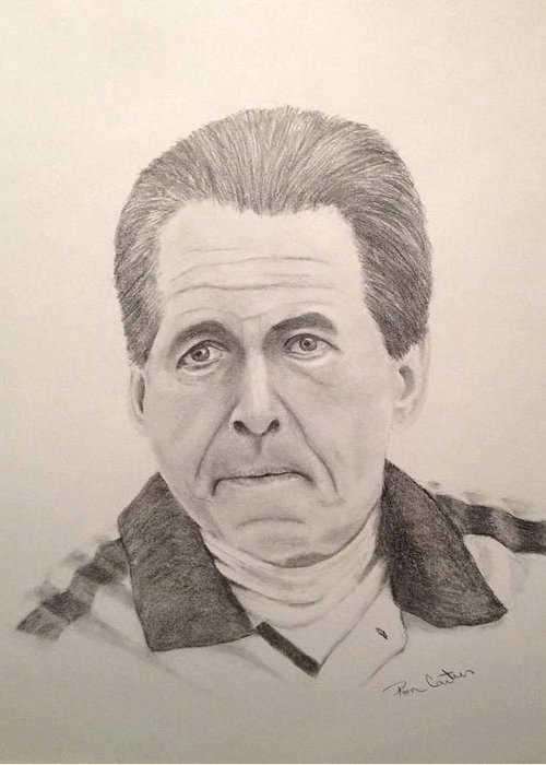 Crimson Tide Greeting Card featuring the drawing Nick Saban by Ron Cartier