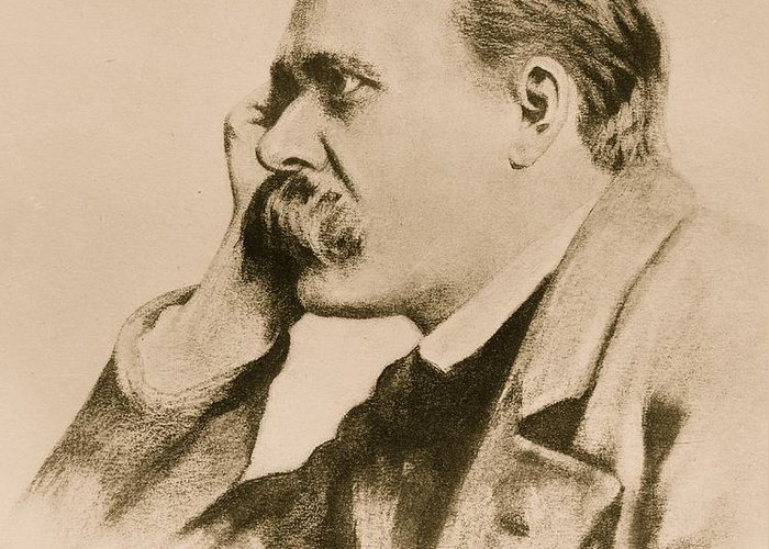 Philosopher; Germany Greeting Card featuring the drawing Nietzsche by Anonymous
