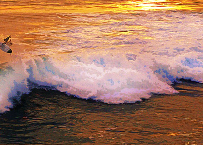 Surf Greeting Card featuring the photograph Night Aerial by Ron Regalado