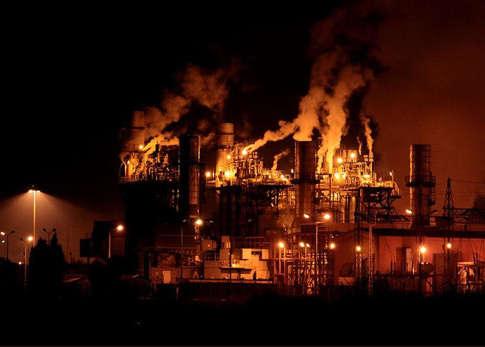 Industrial Greeting Card featuring the photograph Night And Factory by Zafer GUDER